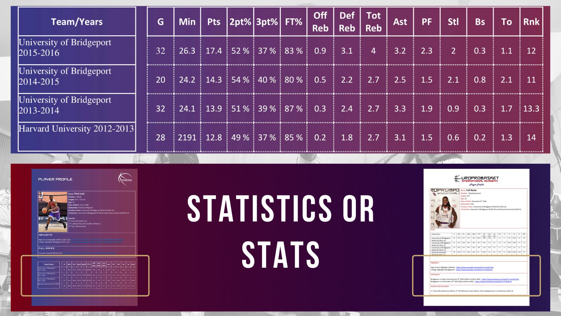 Add your stats or statistics to your basketball resume