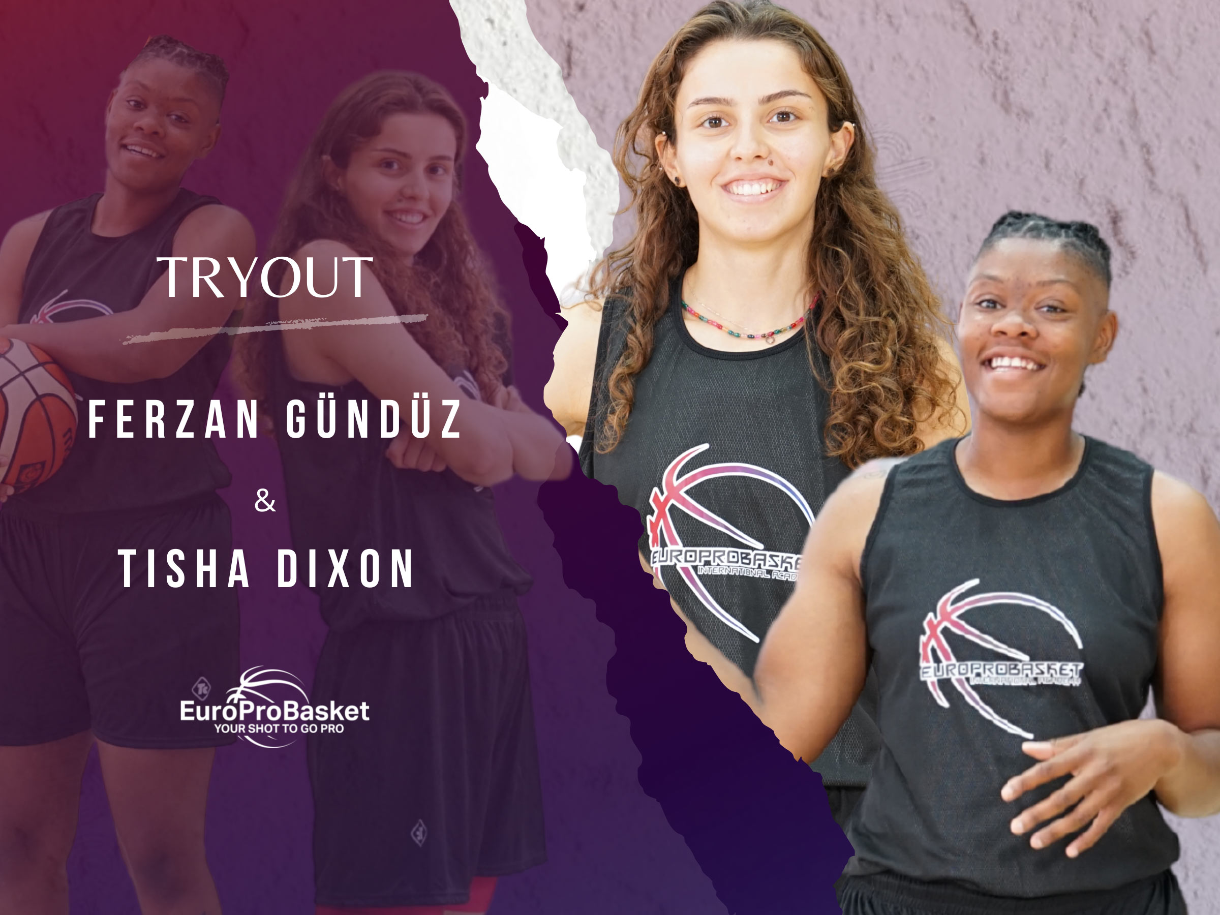 Two Girls on Basketball Tryout After one day in EuroProBasket Program